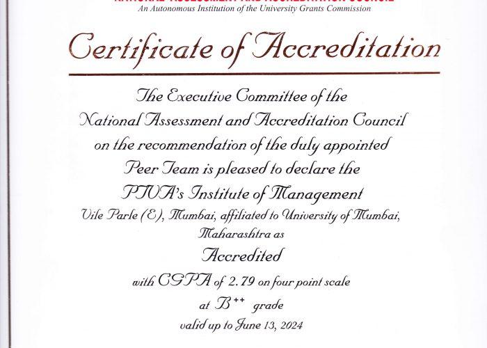 NAAC Certificate – PTVA's Institute of Management