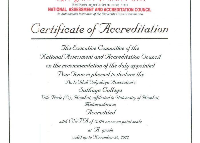 NAAC Certificate –PTVA's Sathaye College