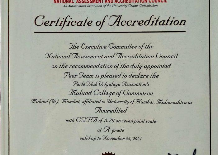 NAAC Certificate -PTVA's Mulund College of Commerce