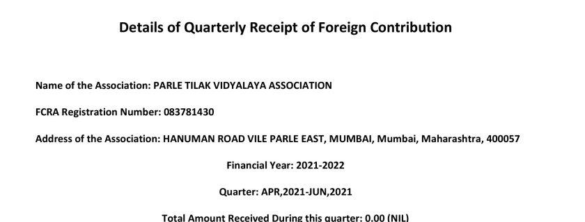 Details of Quarterly Receipt of Foreign Contribution – Quarter: APR,2021-JUN,2021