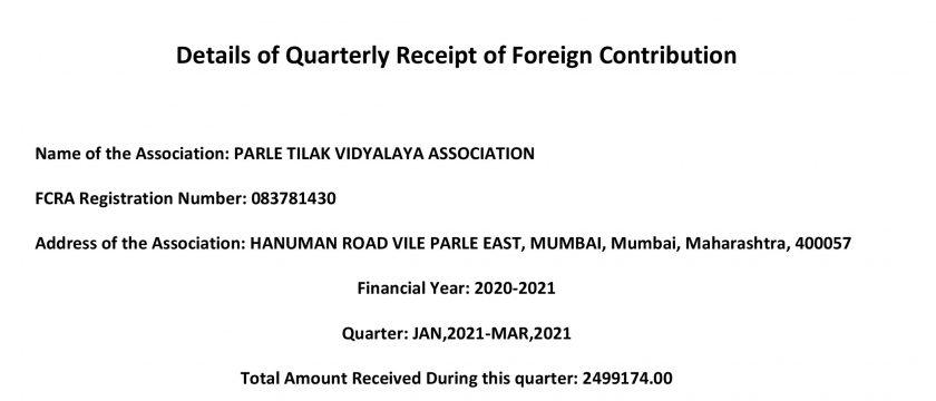 Details of Quarterly Receipt of Foreign Contribution – Quarter: JAN,2021-MAR,2021